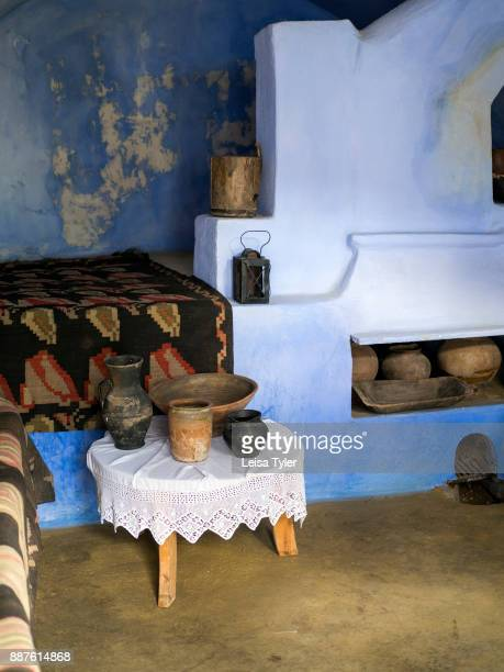 The kitchen of a traditional cottage in Old Orhei Moldova set up to show how people of the area used to live
