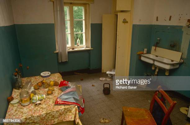 The kitchen of an abandoned in the former Russian Soviet army camp in occupied East Germany on 16th June 19990 on Halb Insel Wustrow near Rostock...