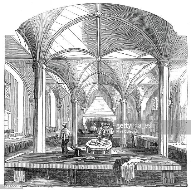 The kitchen of Lincoln's Inn New Buildings, 1845. Interior at Lincoln's Inn, one of the Inns of Court at Holborn in London. The new complex was...