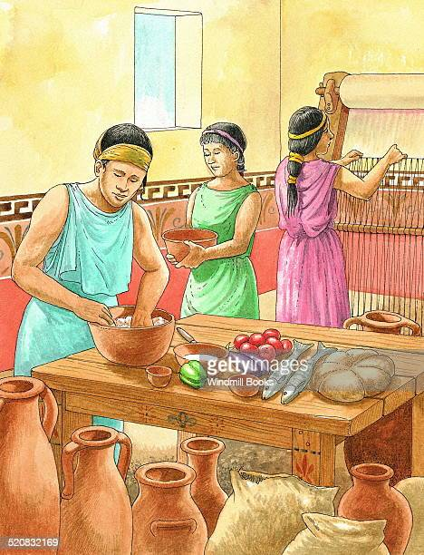 The kitchen of prosperous Athenians In the background a woman is weaving clothes were usually made at home The woman mixing the food has the short...