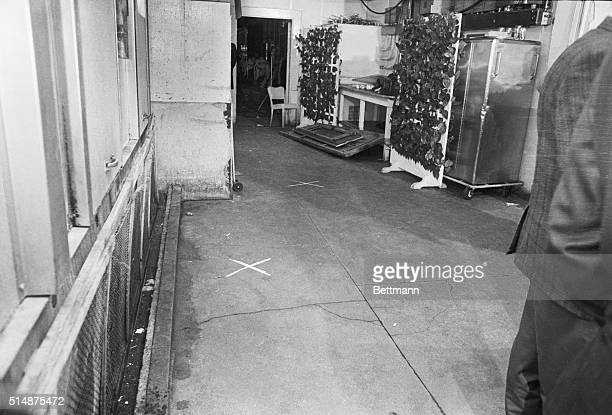 The kitchen of the Ambassador Hotel in Los Angeles where Robert Kennedy was killed during his campaign for president The 'X' in the foreground marks...