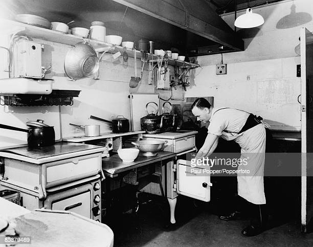 The kitchen of the Cabinet War Rooms beneath Whitehall in London where the staff's meals were prepared during World War II 1945