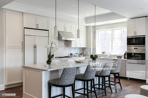 The Kitchen with Breakfast Bar at the Georgetown Model at Quarry Springs on June 22 2015 in Bethesda Maryland