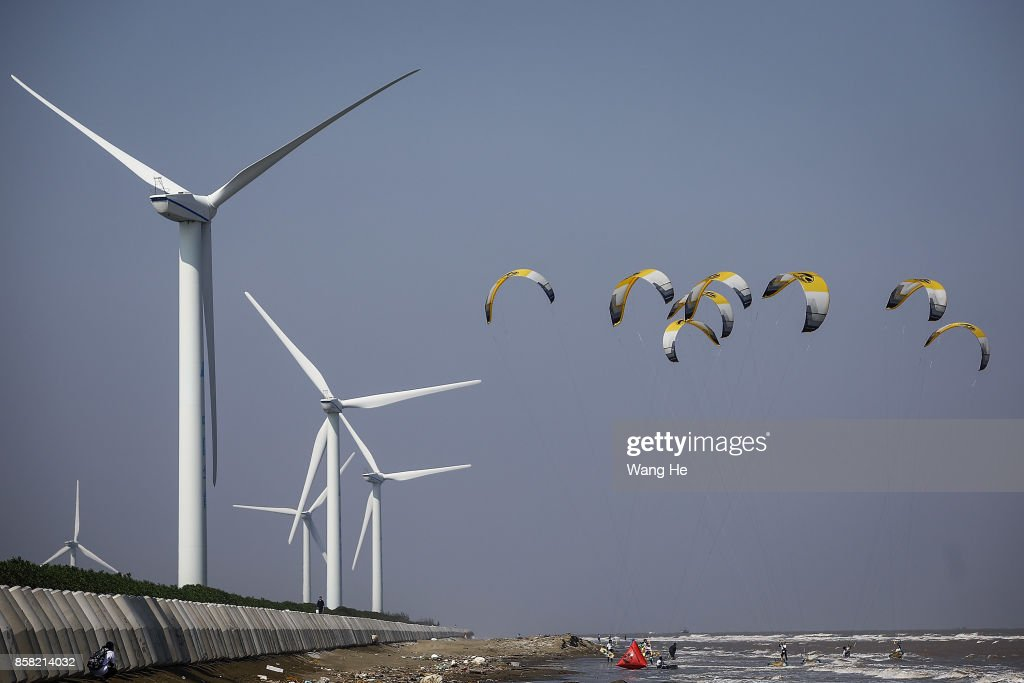 The Kite surfers competes during the 3rd Qidong YuanTuoJiao Kite Surfing Invitational Tournament on Day 1 at Qidong Golden Beach on October 6, 2017 in Nantong,Jiangsu Province ,China.