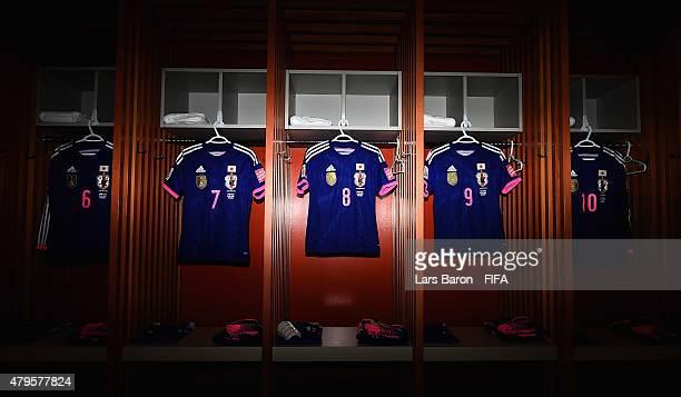 The kits of Kozue Ando Aya Miyama and Nahomi Kawasumi of Japan are seen in the locker room prior to the FIFA Women's World Cup 2015 Final between USA...