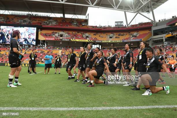 The Kiwi Ferns perform a Haka after the 2017 Rugby League Women's World Cup Final between Australia and New Zealand at Suncorp Stadium on December 2...