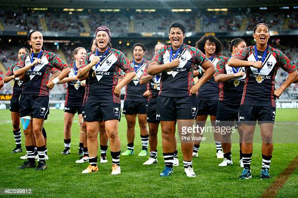 The Kiwi Ferns perform a haka following the match between the Kiwi Ferns and the Jillaroos in the 2015 Auckland Nines at Eden Park on February 1 2015...