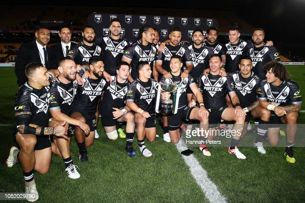The Kiwis celebrate after winning the international Rugby League Test Match between the New Zealand Kiwis and the Australia Kangaroos at Mt Smart...