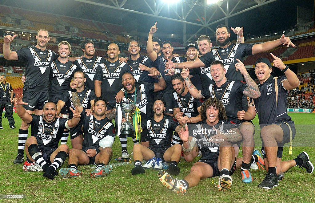 The Kiwis celebrate their victory after the Trans-Tasman Test match between the Australia Kangaroos and the New Zealand Kiwis at Suncorp Stadium on May 3, 2015 in Brisbane, Australia.