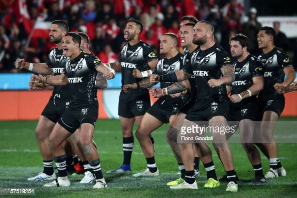 The Kiwis haka during the Oceania league test between the Kiwis and Mate Ma'a Tonga at Mt Smart Stadium on June 22, 2019 in Auckland, New Zealand.