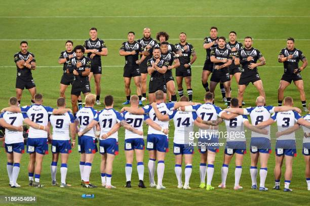 The Kiwis perform the Haka prior to the Rugby League Test match between the New Zealand Kiwis and the Great Britain Rugby League Lions at...