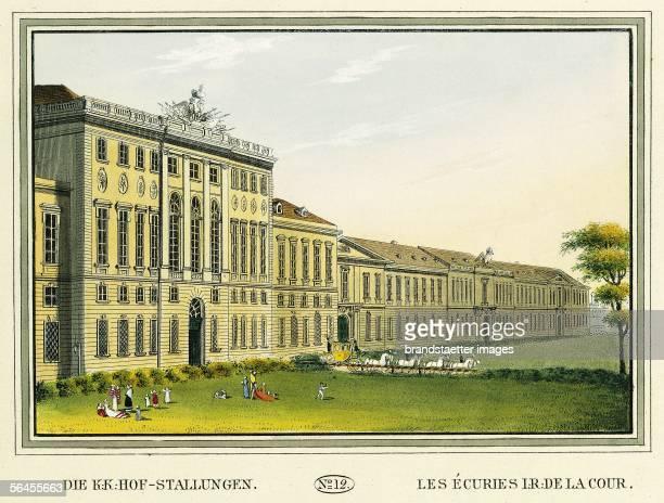 The kk court mews Colour Etching 1825 [Die kk HofStallungen [Hofstallgebaeude] Kolorierter Kupferstich Blatt No 12 aus dem Ansichtenwerk Wiens...