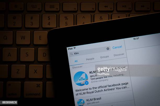 The KLM Royal Dutch Airlines account is seen on the Facebook Messenger app on a portable device on December 1 2017 KLM and several other companies...