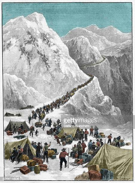 The Klondike Gold Rush - Gold seekers crossing the Chilkoot Pass during the Alaskan Gold Rush, 1897