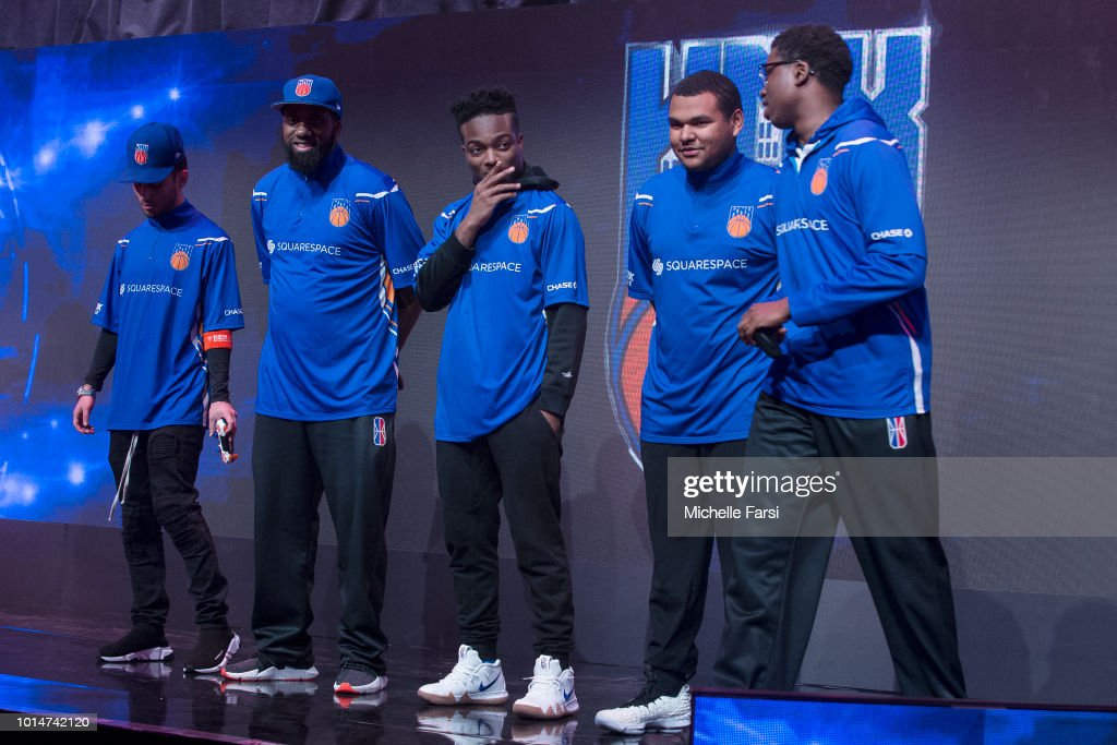 The Knicks Gaming stand together before the game against Wizards District Gaming during Week 12 of the NBA 2K League on August 10, 2018 at the NBA 2K Studio in Long Island City, New York.