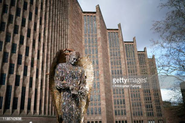 The Knife Angel sculpture is installed outside Coventry Cathedral on March 14 2019 in Coventry England The Alfie Bradley creation is made from 100000...