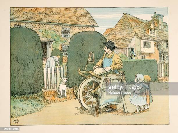 The Knife Grinder from Four and Twenty Toilers pub 1900 colour lithograph accompanies verse by EV Lucas Edward Verrall Lucas 1868 1938