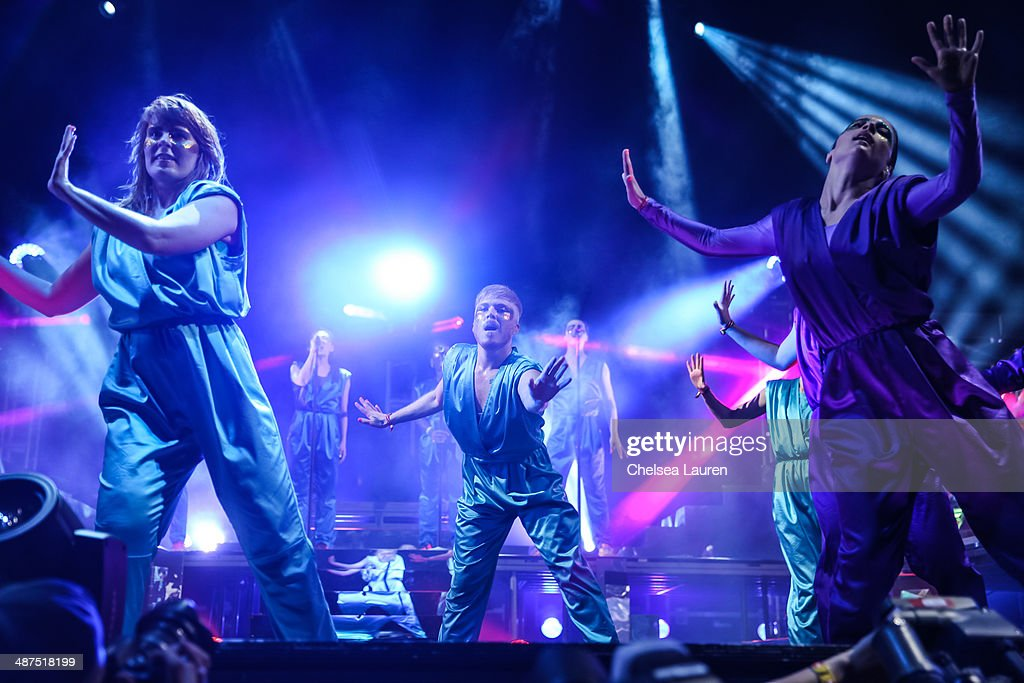 The Knife performs at the Coachella valley music and arts festival at The Empire Polo Club on April 18, 2014 in Indio, California.