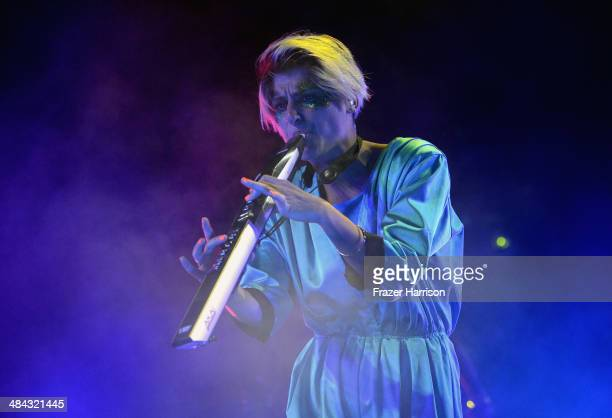 The Knife performs onstage during day 1 of the 2014 Coachella Valley Music Arts Festival at the Empire Polo Club on April 11 2014 in Indio California