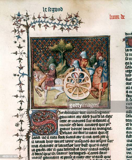 'The Knight of the Cart' 1344 From Le roman of Lancelot du Lac based on the tale of Arthurian legend by Chretien de Troyes Lancelot meets an old man...