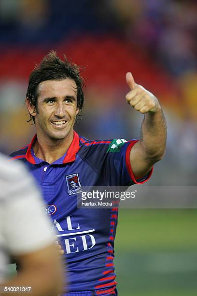 The Knights' Andrew Johns gives the thumbs up after the NRL Round 1 match between the Newcastle Knights and the Parramatta Eels at Energy Australia...
