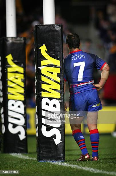 The Knights' Andrew Johns leans against the goal post during the NRL Round 18 match between the Newcastle Knights and Parramatta Eels at Parramatta...