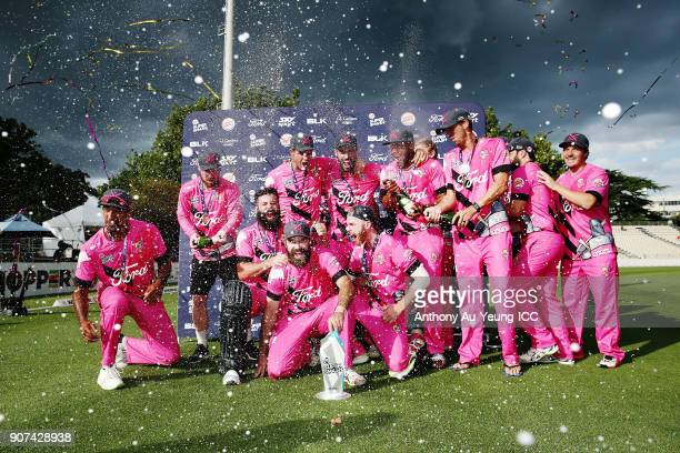 The Knights celebrate after winning the Super Smash Grand Final match between the Knights and the Stags at Seddon Park on January 20 2018 in Hamilton...