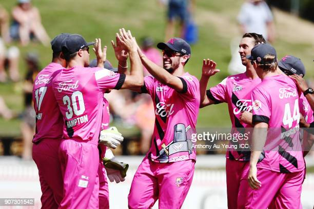 The Knights celebrate the wicket of Jesse Ryder of the Stags during the Super Smash Grand Final match between the Knights and the Stags at Seddon...