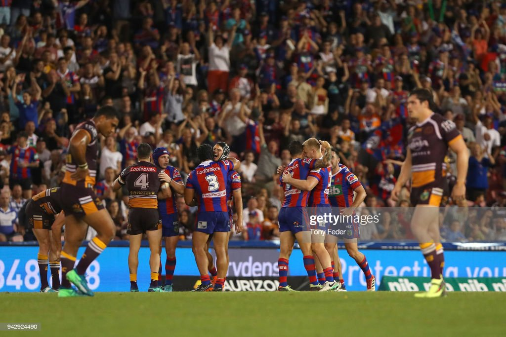 The Knights celebrate the win over the Broncos during the round five NRL match between the Newcastle Knights and the Brisbane Broncos at McDonald Jones Stadium on April 7, 2018 in Newcastle, Australia.