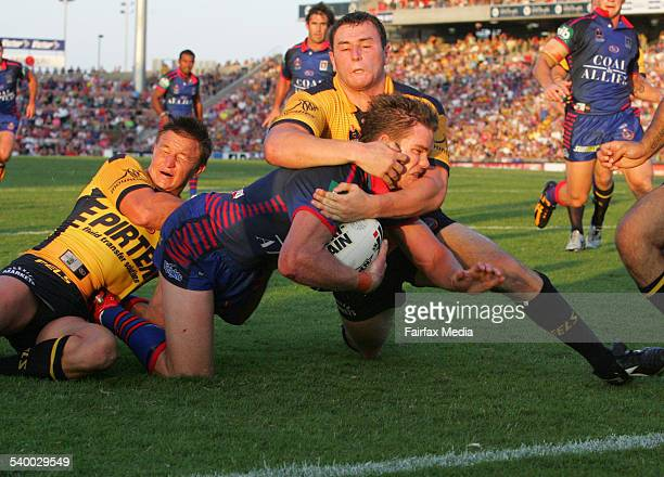 The Knights' Matt Gidley cruises in for a try during the NRL Round 1 match between the Newcastle Knights and the Parramatta Eels at Energy Australia...