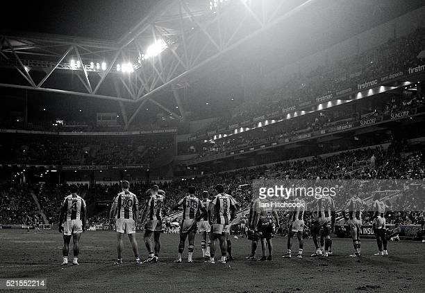 The Knights stand in the ingoal area waiting for a conversion attempt during the round seven NRL match between the Brisbane Broncos and the Newcastle...
