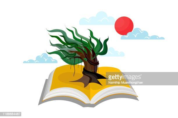 the knowledge from reading books can create new innovations and make the world being better concept vector illustration with an open book and a growing beautiful tree. - knowledge is power stock pictures, royalty-free photos & images
