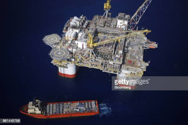 The Kobe Chouest platform supply vessel sits anchored next to the Chevron Corp Jack/St Malo deepwater oil platform in the Gulf of Mexico in the...