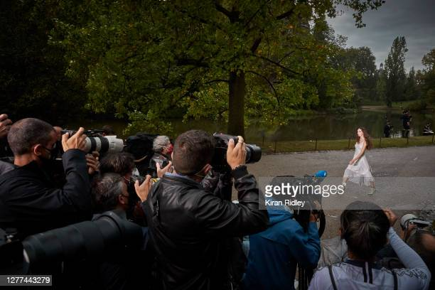 The Koche Womenswear Spring/Summer 2021 show in the Jardin des Buttes Chaumont on the first day of Paris Fashion Week on September 29, 2020 in Paris,...