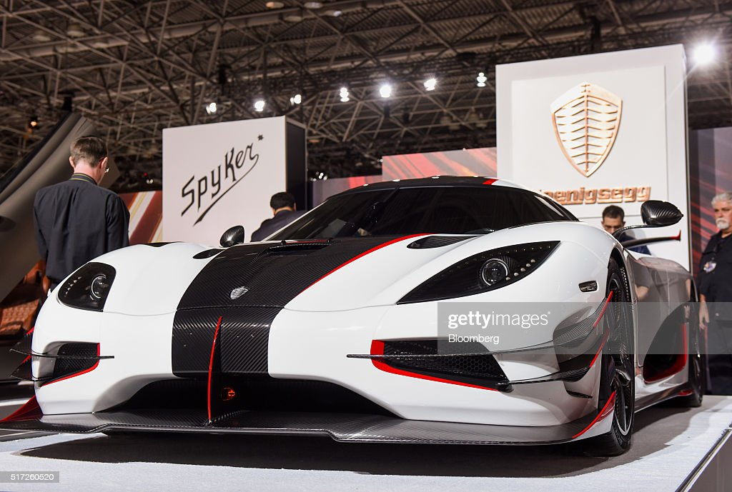 1 luxury vehicle is displayed during the 2016 New York International Auto Show in New York, U.S., on Thursday, March 24, 2016. Koenigsegg showed its $2 million Regera 'hypercar' for the first time ever in the United States. Photographer: Ron Antonelli/Bloomberg via Getty Images