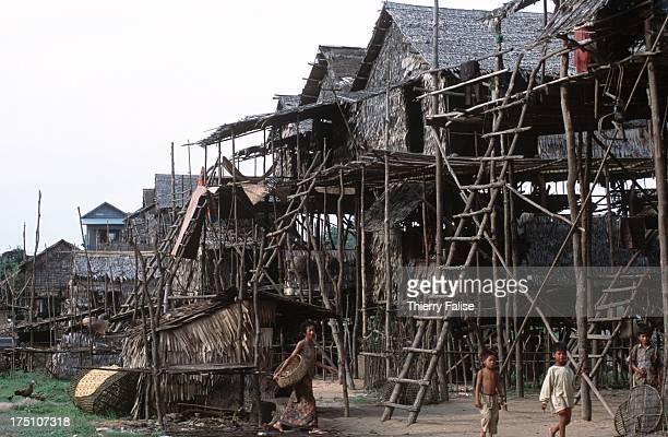 The Kompong Phluik village sitting on the Tonle Sap lake during the low water season..