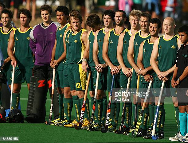 The Kookaburras line up for the Australian National Anthem during the second test match between the Kookaburras and the Netherlands held at Bunbury...