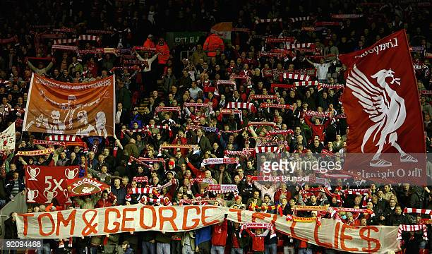 The Kop during the UEFA Champions League Group E match between Liverpool and Lyon at Anfield on October 20 2009 in Liverpool England