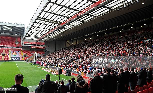 The Kop stand during the memorial service marking the 26th anniversary of the Hillsborough Disaster at Anfield Stadium on April 15 2015 in Liverpool...