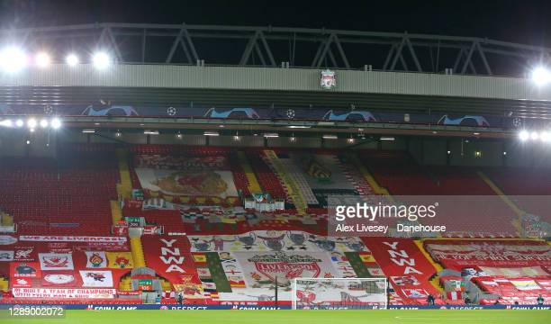 The Kop stand is seen ahead of the UEFA Champions League Group D stage match between Liverpool FC and Ajax Amsterdam at Anfield on December 01, 2020...