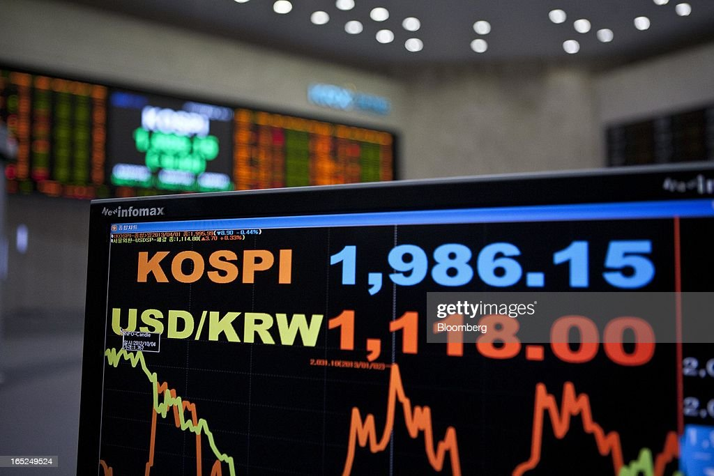 The Korea Composite Stock Price Index (KOSPI) figure, top, and the exchange rate of the South Korean won against the U.S. dollar are displayed on a monitor at the Korea Stock Exchange in Seoul, South Korea, on Tuesday, April 2, 2013. International investors sold the most South Korean equities in 10 months in March amid concerns the nation's exporters will lose market share to Japanese rivals and as tension with North Korea rose. Photographer: Jean Chung/Bloomberg via Getty Images