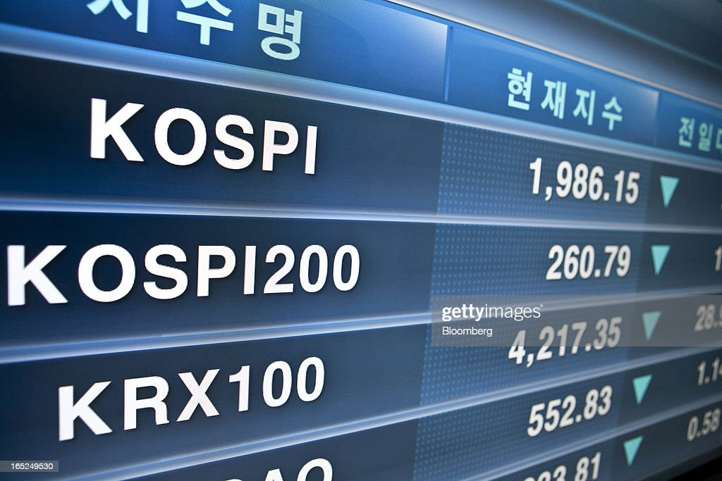 The Korea Composite Stock Price Index (KOSPI) figure, top, is displayed on a monitor at the Korea Stock Exchange in Seoul, South Korea, on Tuesday, April 2, 2013. International investors sold the most South Korean equities in 10 months in March amid concerns the nation's exporters will lose market share to Japanese rivals and as tension with North Korea rose. Photographer: Jean Chung/Bloomberg via Getty Images