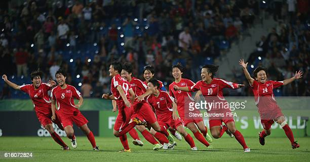 The Korea DPR celebrates after defeating Japan in the penalty shoot out during the FIFA U17 Women's World Cup Jordan 2016 Final match between Korea...