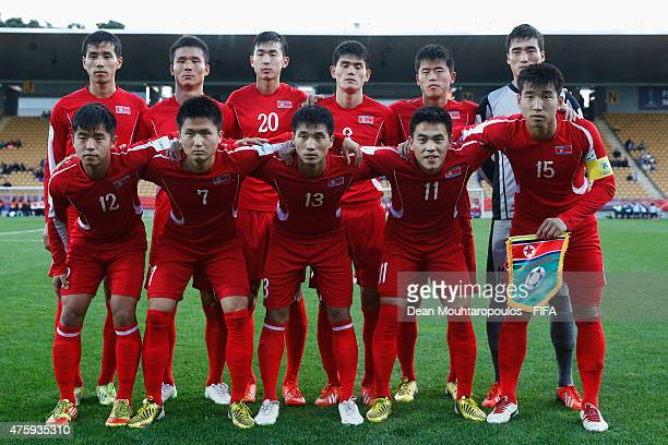 The Korea DPR players line up prior to the FIFA U20 World Cup New Zealand 2015 Group E match between Nigeria and Korea DPR held at Stadium Taranaki...
