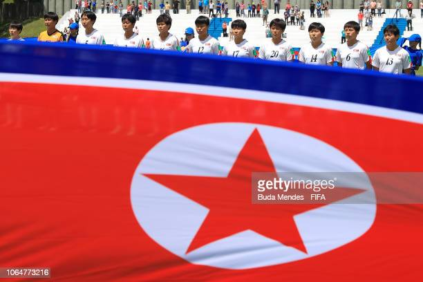 The Korea DPR team lines up for the National Anthems ahead the FIFA U17 Women's World Cup Uruguay 2018 quarter final match between Spain and Korea...