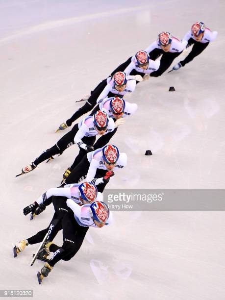 The Korea Men's Short Track Speed Skating team train ahead of the PyeongChang 2018 Winter Olympic Games at Gangneung Ice Arena on February 7 2018 in...