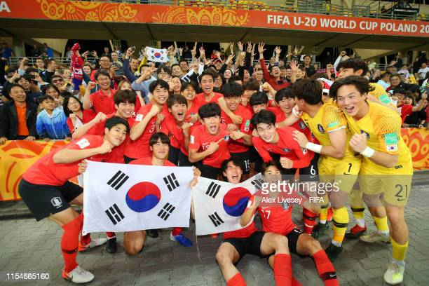 The Korea of Republic team celebrate victory after the 2019 FIFA U20 World Cup Quarter Final match between Korea Republic and Senegal at BielskoBiala...