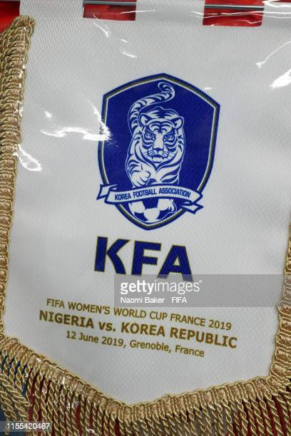 The Korea Republic pennant is seen in the changing room prior to the the 2019 FIFA Women's World Cup France group A match between Nigeria and Korea...