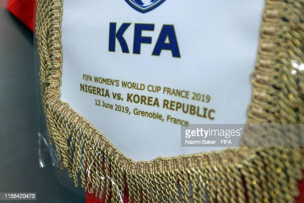 The Korea Republic pennant is seen in the changing room prior to the 2019 FIFA Women's World Cup France group A match between Nigeria and Korea...