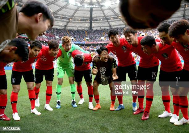 The Korea Republic players for a team huddle prior to the 2018 FIFA World Cup Russia group F match between Korea Republic and Mexico at Rostov Arena...